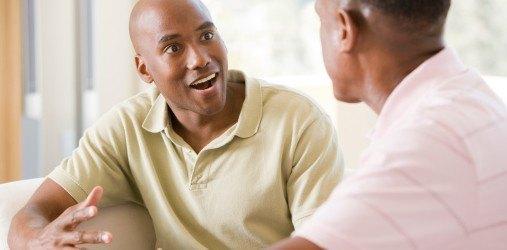 men talking