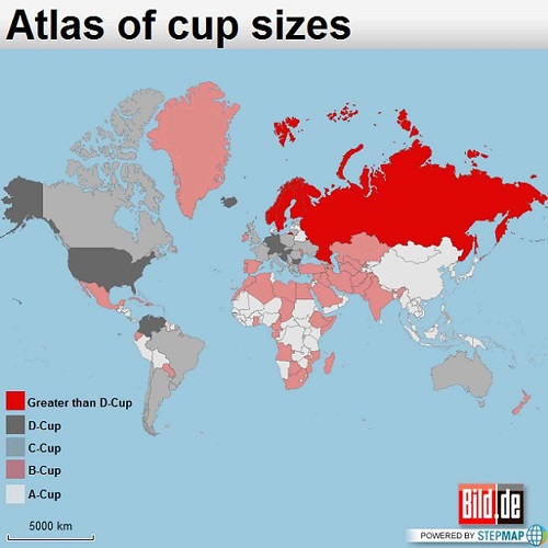 This map shows the countries with the biggest and smallest boobs boobs map gumiabroncs Choice Image