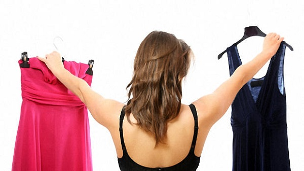 woman choosing dress