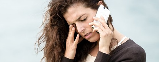 woman sick on the phone