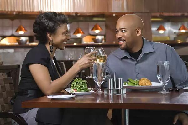 cute couple having dinner